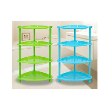 Big Toilet Bathroom Storage Rack Plastic Washbasin Rack Kitchen Storage Tripod Four-layers Rack   green