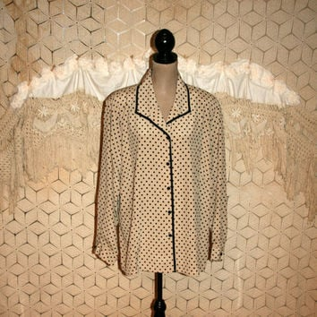 Plus Size Polka Dot Blouse Beige Black 3X Size 24 Shirt Women Long Sleeve Blouse Button Up Blouse Vintage Plus Size Clothing Womens Clothing