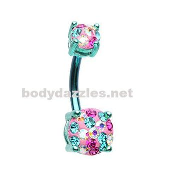 Teal Color Multi Sprinkle Dot Gem Prong Sparkle Belly Button Ring 14ga