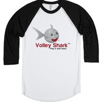 Volley Shark on 3/4 length sleeves-Unisex White/Black T-Shirt