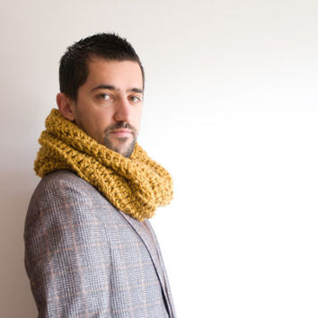 Large Infinity Scarf - Unisex, Crochet Cowl Scarf, Winter Hooded Cowl for him or for her, ohtteam brown, old gold, brown, yellow, mustard