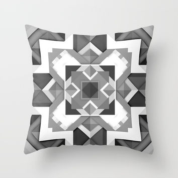 Black and White Geometric Geometry Mandala Diamond Square Pattern Graphic Throw Pillow by AEJ Design