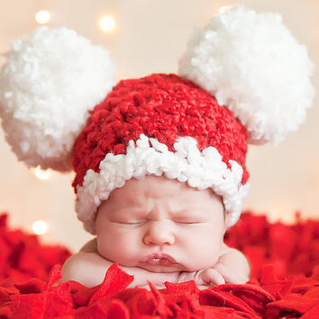 Christmas Baby Santa Hat, Baby Hat, 0 to 3 Month Baby Girl Baby Boy Crochet Pom Pom Mouse Ear Hat - Red, White - Photography Prop Santa Hat