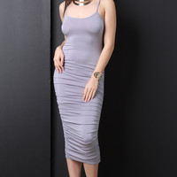 Ruched Sides Cami Midi Dress