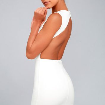 Hey Honey White Backless Bodycon Dress