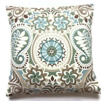 Decorative Pillow Cover Blue Sage Green Taupe Brown Throw Toss Accent Paisley Damask 18 inch