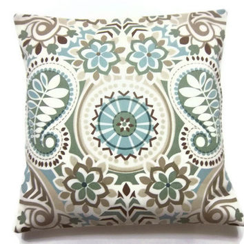 Throw Pillows For Sage Green Couch : Best Taupe And Blue Decorative Pillows Products on Wanelo