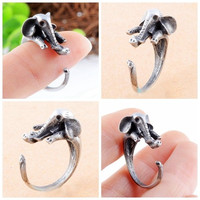 Korean Lovely Elephant Finger Ring Unique Party Rings For Women Christmas Gift (Color: Antique silver) = 1945853572