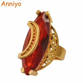 Anniyo Middle East Stone Ring for Women Gold Color Arab Rings Jewelry African Ethiopian Wedding Gifts #102706