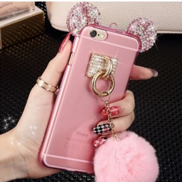 bling crystal Mickey Mouse Ear Fur iphone 5- 5s fur ball pom pom