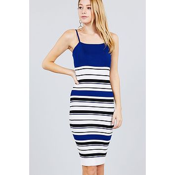 Straight Neck Multi Stripe Cami Mini Sweater Dress ()