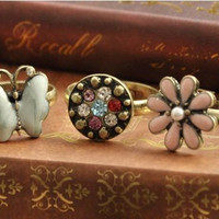 3 Pieces Women Vintage Ring Flower Butterfly