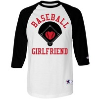 A Baseball Girlfriend Baseball Raglan Jersey with Name and Number on Back!