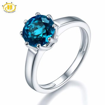 Hutang 2.73ct Natural Gemstone London Blue Topaz Solid 925 Sterling Silver Engagement Rings Fine Jewelry For Women Gift 2017 NEW