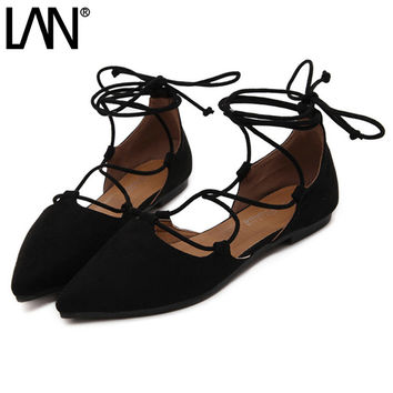 Fashion 2017 Spring Summer Women Ballerina Flats Pointed Toe Women Flats Ankle Strap Casual ladies Loafers Shoes size 35-42