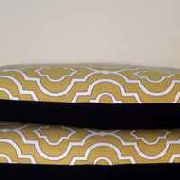 "2 Handmade Pillow Covers - Modern Abstract Print - READY TO SHIP - 12"" x 20"" - Pair Yellow, White & Black with Envelope Closure"