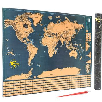 Scratch Off World Map - Detailed Scratchable Travel Tracker Poster with US States and Country Flags - Includes FREE Scratcher Pen Tool - Perfect Gift Item for Holidays & Adventures (32 in. x 24 in.)