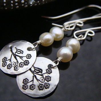 D2E hammered hand stamped sterling silver bird on blossoming branch earrings with freshwater pearls