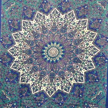 "Indian Mandala Star Elephant tapestry,Hippie Hippy Wall Hanging Wall Decor Bed Spread Wall art Beach Coverlet Throw Curtain 86"" x 56"""