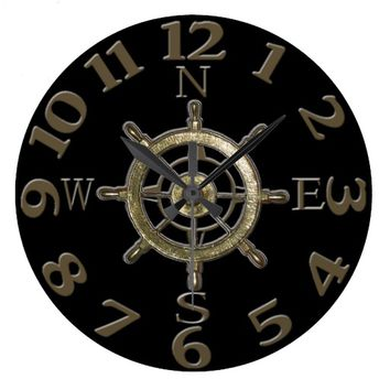 West Coast Compass Numbers Large Clock