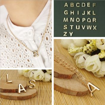 Alphabet necklace 26 Letter neckalce+Beautiful gift box 080401