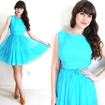 60s Dress / 1960s Dress / 1960s Turquoise Chiffon Party Dress