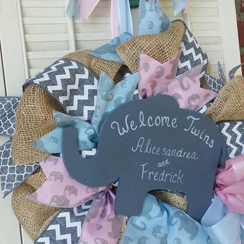 Elephant Nursery Twins Blue Pink Gray Nursery Wreath Twin Babie Hospital Door Elephant Baby Shower Baby Decor Twins Nursery Welcome Baby