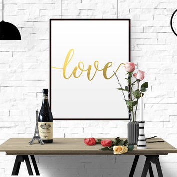 GOLD FOIL PRINT Printable art Love quote printable Love Ilustration Simple black and white quote print Master bedroom wall decor printable