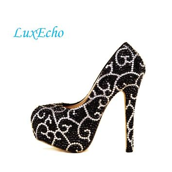 2017 Black Rhinestone Bride wedding shoes woman's Fashion Crystal Girl Party shoes Pumps Adult High heels free shipping