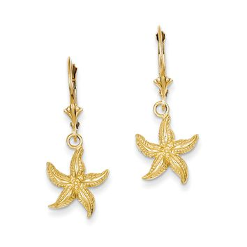 12mm Textured Starfish Lever Back Earrings in 14k Yellow Gold