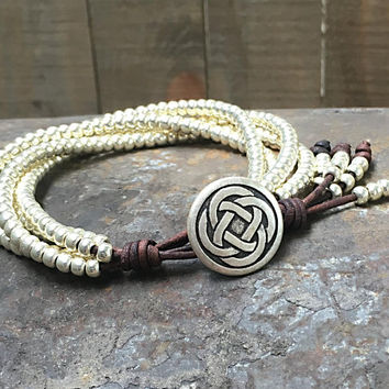 Beaded Leather Wrap Bracelet/ Silver Seed Bead Leather Bracelet/ Boho Wrap Bracelet/ Bohemian Bracelet.