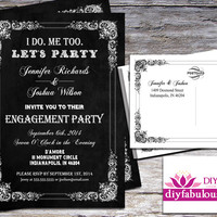 DESIGN 010 Chalkboard Engagement Party Invitation Printable Engagement Party Invitation or Printed Engagement Party Invitation