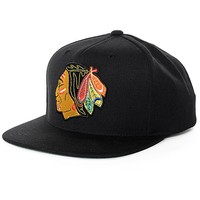 NHL Mitchell and Ness Blackhawks Wool Black Snapback Hat