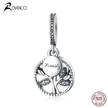 Authentic 925 Sterling Silver Bead Family Heritage Family Tree Pendants Beads Fit Diy Pandora Charms Bracelet & Bangle Jewelry
