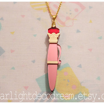READY to SHIP Disguise Pen Sailor Moon Inspired Laser Cut Acrylic Necklace for Mahou Kei, Magical Girl Fashion