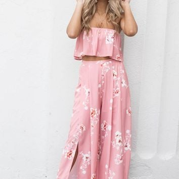 Thinking Positive Pink Crop Top & Pants Set