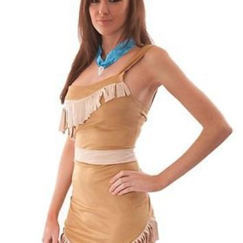 LADIES SEXY POCAHONTAS INDIAN PRINCESS HALLOWEEN FANCY DRESS COSTUME CHEAP 8-10