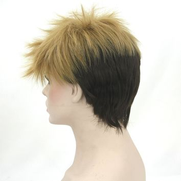 Short High Temperature Fiber Synthetic Hair Cosplay Wigs Black Mix Brown Wig for Men and Women