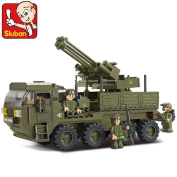 Sluban heavy transport truck army antiaircraft artillery Assembled Plastic Model Building Blocks Bricks Compatible With Lego