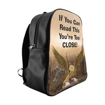 School Backpack If You Can Read This Angry Baby Gold Dragon