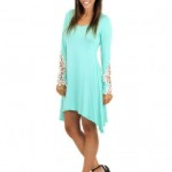 Mint Dress / Top With Crochet Sleeves