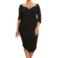 Black Plus Size Half Sleeve Curvy Midi Dress LAVELIQ