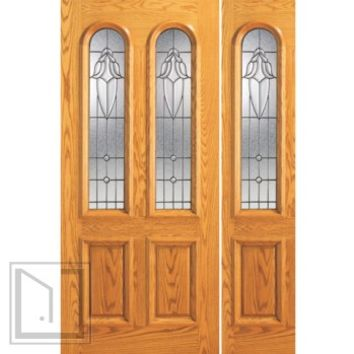 Prehung Mahogany Twin Lite, Arch Lite Entry 1 Sidelite Glass Door