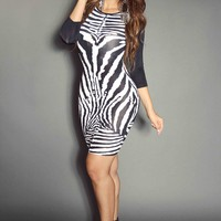 Zebra Print W/ Solid Black Quarter Sleeve Sexy Party Dress