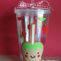 Fall Tumbler, Fall Cup, Caramel Apple Cup, Fall Birthday, Thanksgiving Cup, Birthday Gift, Fall Decor