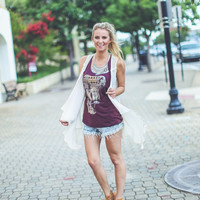 Foiled Elephant Tank Top in Burgundy