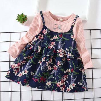BibiCola Girls Dress 2018 New Spring Baby Girls Princess Dress Floral Pattern Print Design Long Sleeve Girls Clothes