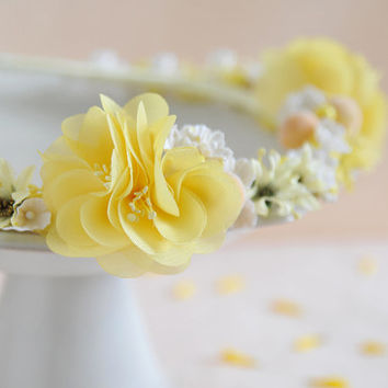 Miss Yellow - one of a kind yellow flower crown, bridal headpiece, summer beach wedding