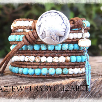 Turquoise Bracelet, Native American, Southwestern Jewelry, Indian Jewelry, Turquoise Jewelry, Wrap Bracelet, Leather Bracelet.*