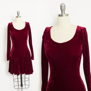 Vintage Betsey Johnson Dress - 1990s VELVET Burgundy - Small S